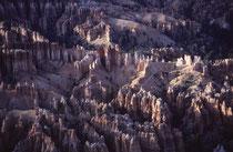 """Der Park, auf 2400 bis 2700 m gelegen, dient vor allem dem Schutz der farbigen Felspyramiden, (genannt """"Hoodoos"""" = turmartige Gebilde aus Sedimentgesteinen im Westen Nordamerikas) an der Abbruchkante des Paunsaugunt-Plateaus."""