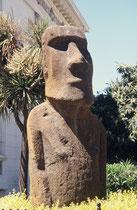"""Im Garten des naturhistorischen Museums der Stadt Valparaiso steht ein sog. """"Moai"""", also eine steinerner Riesenkopf, von denen ca. 1000 auf der Osterinsel aufgestellt wurden. Es wurde mir nicht klar, ob es sich um ein Original oder eine Nachbildung handel"""