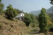 """Am Schluss des Tages begann die Strasse zu steigen. Und sie stieg und stieg atemberaubend im Himalaya-Vorgebirge in die Höhe, bis wir den Ort Pangot auf rund 2000 m ü. M. erreicht hatten. Dort wohnten wir in diesem Haus in der """"Jungle Lore Birding Lodge""""."""