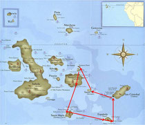 Unsere Reiseroute auf den Galapagos: Von Baltra über Santa Cruz nach Puerto Ayora aufs Schiff. Dann nach Floreana (Punta Cormorant, Post Office Bay), Espanola (Punta Suarez), San Cristobal, Santa Fe, Seymour Norte und zurück nach Baltra.