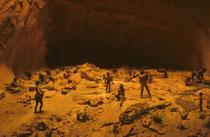 Ein Modell, das zeigt, wie die Menschen diese Höhlen genutzt haben könnten.