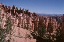 """Die durch diese Erosion entstandenen """"Amphitheater"""" erstrecken sich über eine Länge von total über 30 km. Das grösste von ihnen, der """"Bryce Canyon"""" ist nahezu 5 km breit, 19 km lang und fällt über 240 Meter gegenüber dem Plateau ab."""