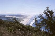 """Blick auf die Pazifikküste. Wir haben den Kontinent durchquert ! Im Tagebuch steht: """"Nicht weisser, sonniger Sandstrand mit vielen Menschen, sondern ein silbriges Meer über das endloser grauer Nebel von einem kühlen Wind gegen die Küste getrieben wird."""""""