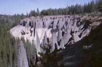 Diese 60-90 m hohen Felsformationen im Crater Lake NP sind eigentlich fossile Fumarolen. Sie waren ursprünglich, Dampfaustrittskanäle. Die Hitze der Dämpfe festigte das sie umgebende Material zu Säulen, die später durch Erosion freigelegt wurden.
