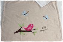 Babydecke Vogel auf Ast + Name