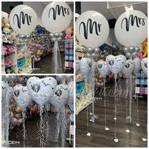 """Mr. & Mrs. ca. 80cm Durchmesser gefüllt mit Helium, Versiegelt, 8x 5"""" Latexballons, Gewicht. Schwebedauer min. 2 Wochen Preis: 80,00€"""