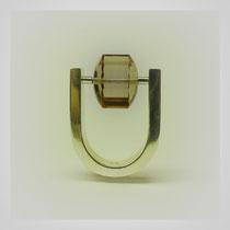 Ring in Silber mit beweglichem Zylinder aus Rauchquarz.