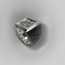 Schwerer Ring in Silber mit Wappentableau.