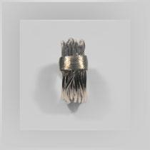 Ring in Gold. Die Wicklungen werden von einem breiterem Band zueinander verdichtet.