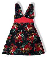 Ärmelloses Kleid mit tiefem V-Ausschnitt - schwarz/rotes Blumenmuster