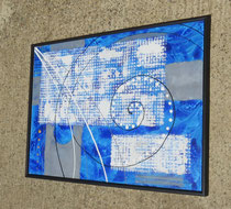 bleu - vue côté2. tableau abstrait abstraction