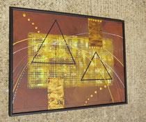 pyramides, vue côté1, tableau abstrait.abstraction