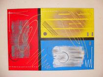 primaires, vue face, tableau abstrait. abstraction