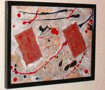 souris rockeuse, vue de côté, tableau abstrait. abstraction
