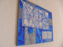 bleu - vue côté1. tableau abstrait abstraction