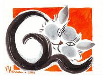 Challigraphie fond orange, encre  - réf CHA003