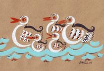 Groupe de canards 37,5X15,5cm  réf CAN0020