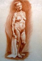 Weiblicher Akt, stehend, Bleistift auf Papier, 40x50