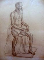 Alter Mann, sitzend, Bleistift auf Papier, 40x50