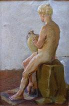 Weiblicher Akt mit Vase, Öl auf Leinwand, 30x40