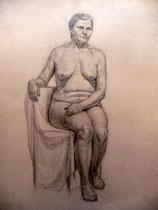 Weiblicher Akt, sitzend, Bleistift auf Papier, 40x50