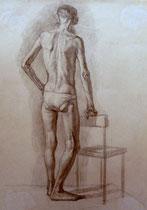 Alter Mann, stehend, Bleistift auf Papier, 40x50