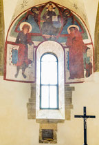 San Giovanni in Venere, cripta. Cristo fra i santi Benedetto e Giovanni Battista