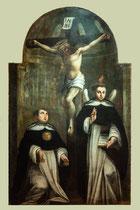 """Ortona, Museo Diocesano. Pasquale Bellonio  XVIII secolo """"San Tommaso d'Aquino e San Vincenzo Ferrer davanti al Crocifisso"""