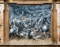 Sulmona, palazzo della Provincia (o Baldassarre) scene della battaglia per la presa dell'Aquila