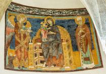 San Giovanni in Venere, cripta. Madonna in trono fra .l'Arcangelo Michele e S. Nicola
