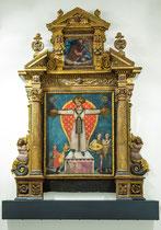 Ortona, Museo Diocesano. Ignoto, Il Volto Santo di Lucca e il miracolo del giullare, XV sec