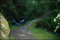 Passage près de petites cascades et vieux pont