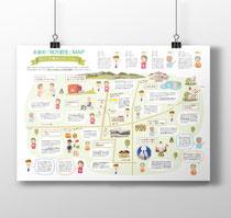 岡山県奈義町「地方創生マップ」イラスト