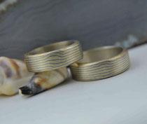 2G10 Mokume Gane Eheringe  - Gold 22K, Palladium 500, Silber 935