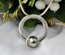 ATP - Mokume Gane Anhänger mit Tahiti Perle (13 mm⌀ )Kreis:Außen⌀ 34mm Bx5 mm