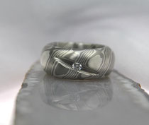 7E - Massiver Mokume Gane Ring Palladium 500, Sterlingsilber, Diamant 3 mm TW.SI