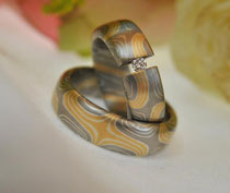 2G7 Mokume Gane Ringe- Gelbgold 900, Palladium 500, Sterlingsilber, Diamant TW.SI 3 mm