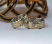 3G14 Mokume Gane Ringe  - Gelbgold 900, Palladium 500, Sterlingsilber