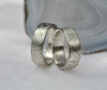 PS5 Mokume Gane Trauringe - Palladium 500, Silber 935