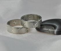 PS8 Mokume Gane Trauringe - Palladium 500, Silber 935