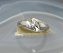 9E - Mokume Gane Ring/Verlobungsring Palladium 500, Sterlingsilber, Diamant TW.SI. 3 mm