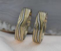 G14 Mokume Gane Ringe- Gelbgold 22K, Palladium 500, Silber 935 geschwärzt