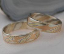 G9 Vierfarbige Mokume Gane Ringe - Rotgold 14K, Gelbgold 18K, Palladium 500, Sterlingsilber