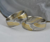 2G12 Mokume Gane Ringe - Gold 22K, Palladium 500, Silber 935