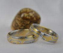 2G5 Mokume Gane Verlobungsringe  - Gelbgold 900, Palladium 500, Sterlingsilber, Diamant TW.SI 3mm