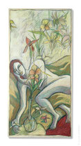 """© LillaHangay, Day of the orchids, 1996, acrylic, graphite and oil pastel crayons on wood panel, ca 24 x 45"""", SOLD"""