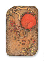 "© LillaHangay, Cell Dance, 2004, graphite and oil pastel crayons on carved wood panel, ca 11 x 7"", SOLD"