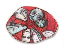 "© LillaHangay, Vertigo, 2004, graphite and oil pastel crayons on wood panel, ca 7 x 10"""
