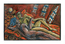 © LillaHangay, Couple on couch, 1996, graphite and oil pastel crayons on paper, ca 28 x 44""