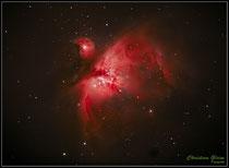 Orionnebel M 42, aufgenommen 2020-02-01 19:46:32 . 2010:01:45 MEZ., Belichtung 5 M 20 s, TZEC160FL Canon EOS 450DA, ISO 800 im Rahmen des Kurses Astrofotografie und digitale Bildbearbeitung  am Schülerlabor Astronomie des CFG Wuppertal.